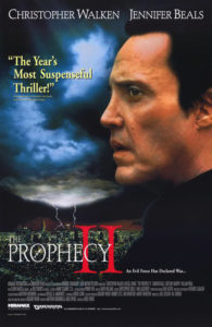 "Image is a poster. Christopher Walken's face is in profile looking slightly troubled with ominous clouds in the background. The tagline reads ""The Year's Most Suspenseful Thriller!"" in yellow and the title of the movie ""The Prophecy II"" is displayed at the bottom in white and red text."
