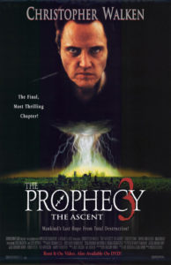 "Image is a movie poster. Christopher Walker is glaring out at the audience above a column of lightning. Below, the title ""The Prophecy 3: The Ascent"" is displayed in red and white."