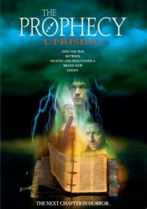 "Image is a movie poster. The title ""The Prophecy: Uprising"" is displayed in white text at the top and the poster image consists of eerie clouds and a column of lightning with images of the three main characters and The Lexicon inside."