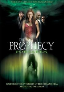 "Image is a movie poster. Poster image consists largely of eerie clouds with a composite image of the main characters with a shadowy figure below. The title, ""The Prophecy: Forsaken"" segments image in the middle."
